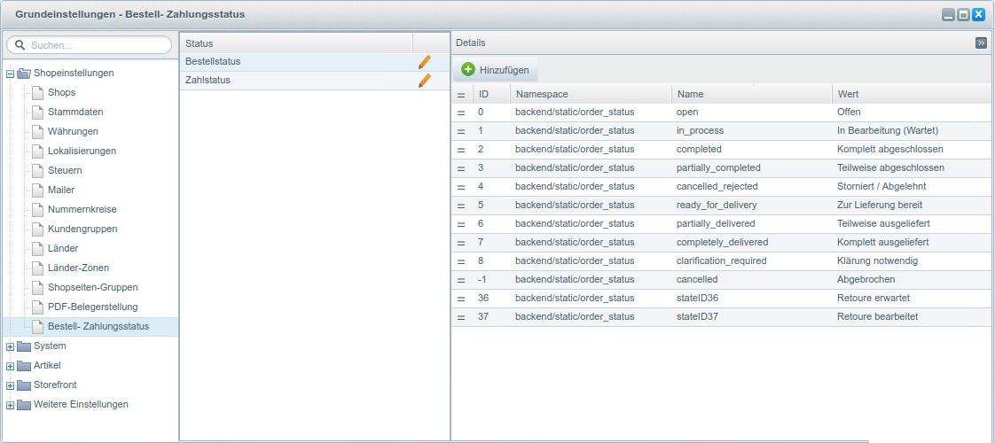 Bestellstatus / Zahlungsstatus konfigurieren